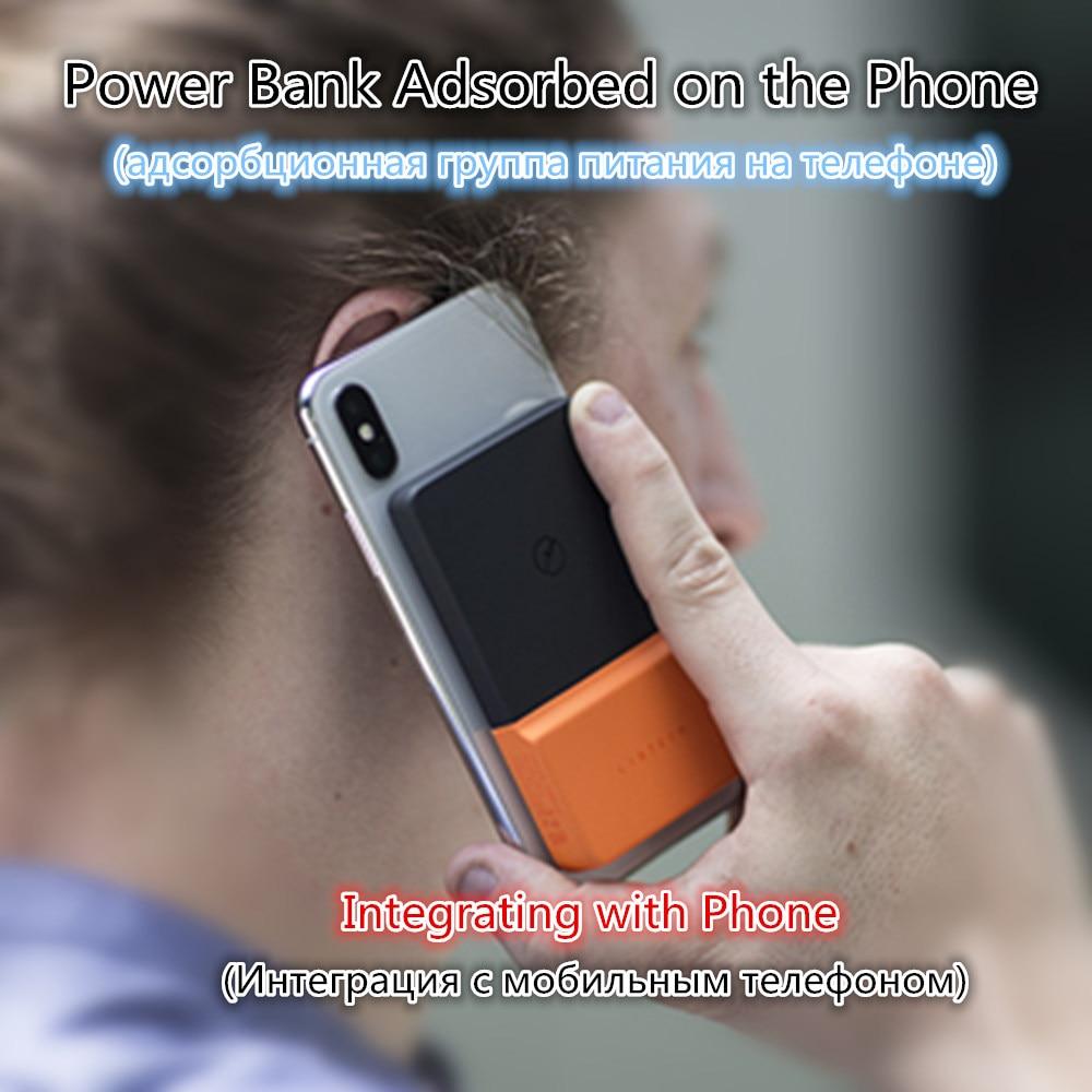 Recharge sans fil batterie externe Ultra-mince D'adsorption Chargeur Sans Fil Batterie étui pour iphone X XS Samsung S8 Xiaomi Huawei P20