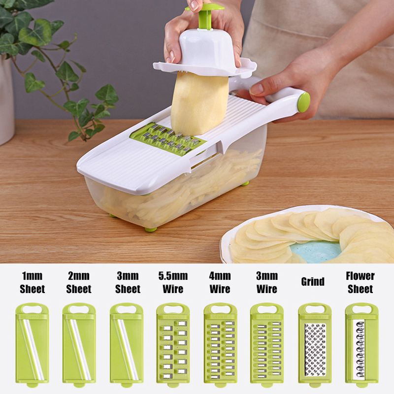 Mandoline Slicer and Vegetable Cutter With 8 Pieces Stainless Steel Blade Used as Kitchen Tool 1