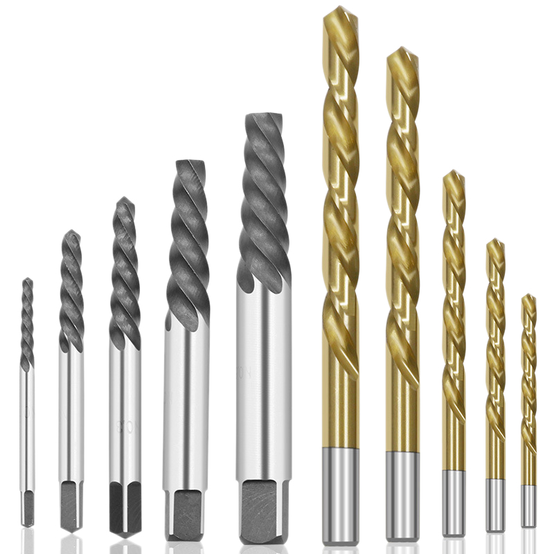 10Pcs Cobalt Left Hand Drill Bit Set + Broken Bolt Damaged Screw Extractor Set