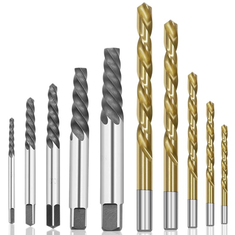 10Pcs Cobalt Left Hand Drill Bit Set + Broken Bolt Damaged Screw Extractor Set