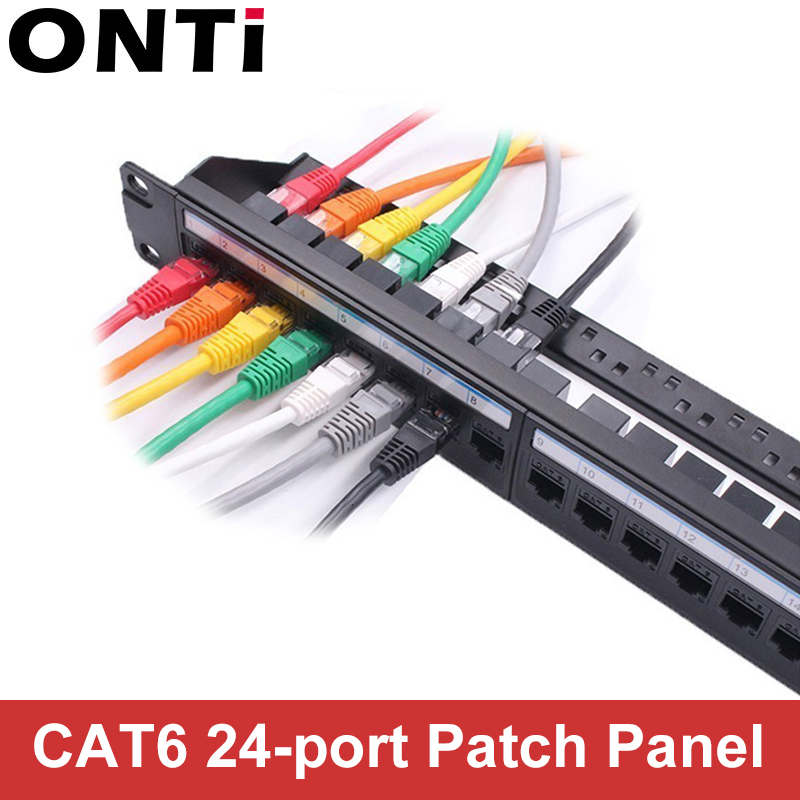 19in 1U Cabinet Rack Pass-through 24 Port CAT6 Patch Panel RJ45 Network Cable Adapter Keystone Jack Modular Distribution Frame