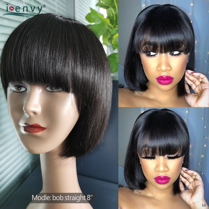 Short Bob Wigs With Bangs Human Hair Brazilian Straight Remy Human Hair Wigs For Women No Tangle Short Bob Wigs Full Machine Wig