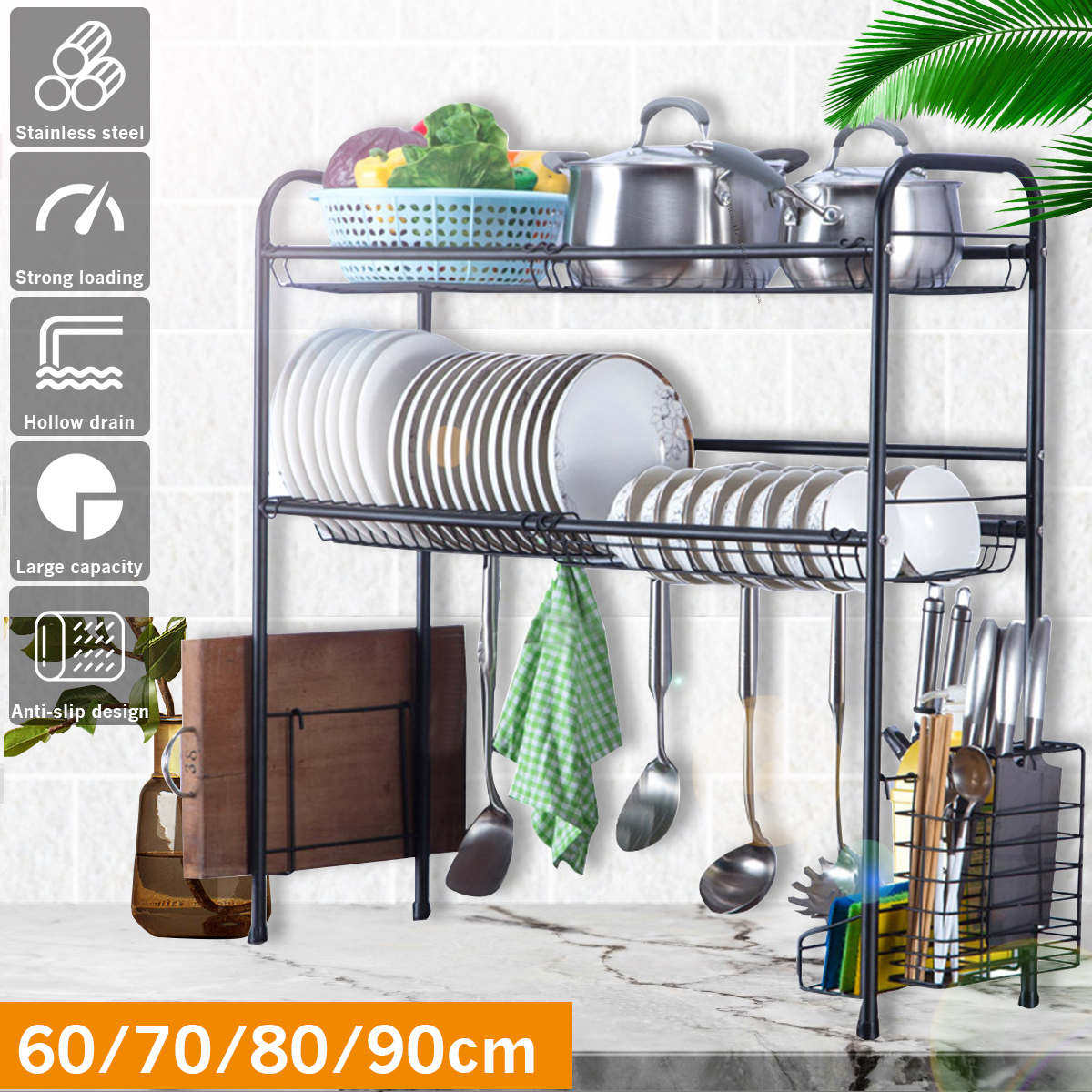 Black 4 Size 304 Stainless Steel Sink Drain Rack Kitchen Shelf 2 Layer Floor Sink Plate Rack Dish Rack Kitchen Storage Rack Home Leather Bag