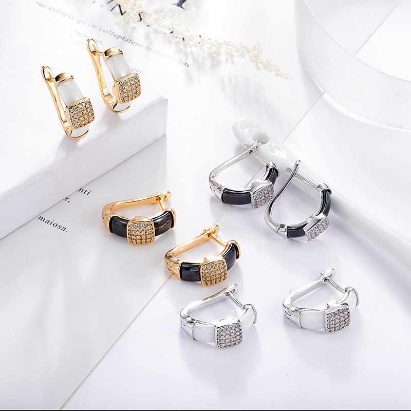 Maikale Klasik Sederhana Anting-Anting Anting-Anting Square Cubic Zirconia Tembaga dan Keramik Anting-Anting Berlapis Emas Perak Anting untuk Wanita Hadiah