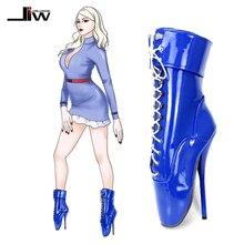 """Jialuowei Extremeสูง7 """"High Spike Heel Pointed ToeสิทธิบัตรหนังExoticเครื่องรางเซ็กซี่กุญแจล็อคบัลเล่ต์รองเท้าข้อเท้า"""