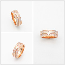 S925 pure silver classic men's and women's yellow gold rose gold letters set zircon ring engaged couples adorn article