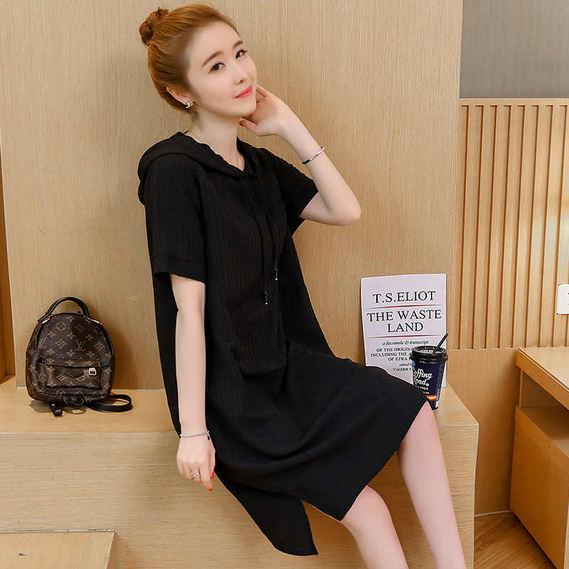 בתוספת גודל ישר פיצול ברדס שמלת נשים 2020 קיץ אופנה קוריאנית Loose מוצק קצר שרוול פשוט גדול Femme שמלות