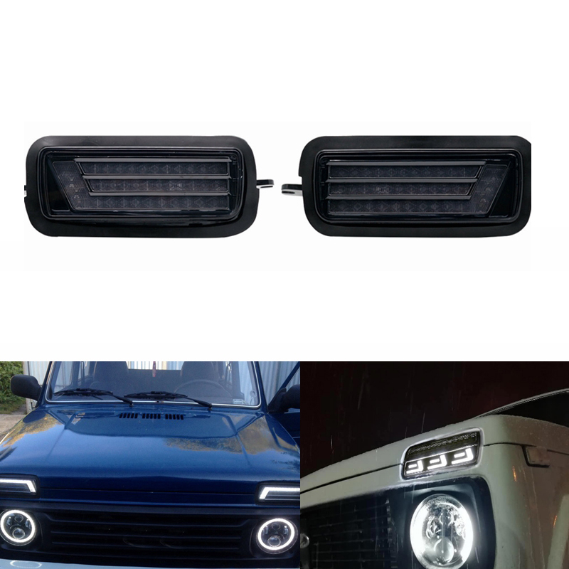 2Pcs Led Daytime Running Light for Lada Niva 4X4 1995+ with DRL Turn Signal Light Car Headlight image
