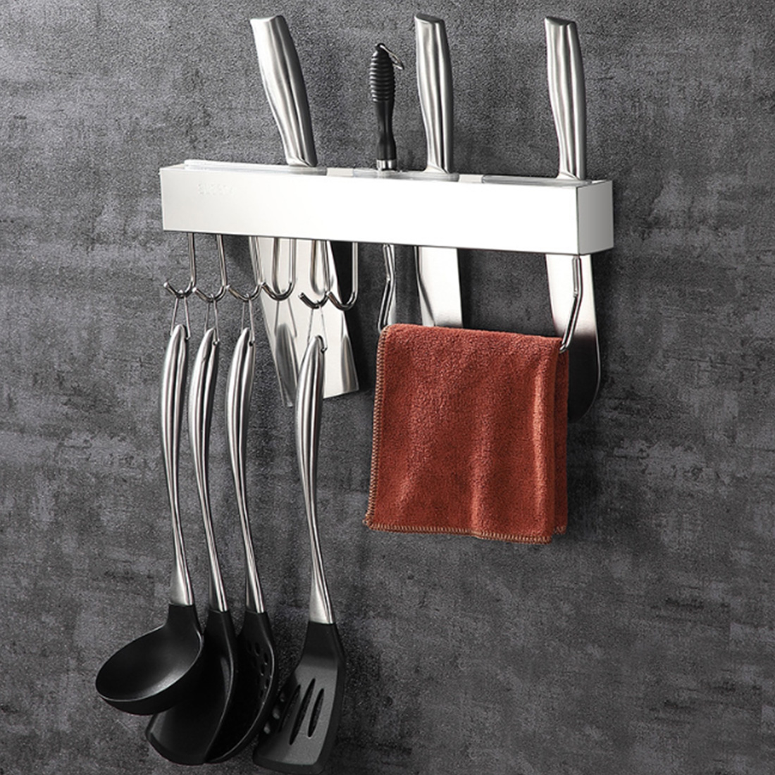 Multifunctional Slice Pot Kitchen Racks Cutter Slot Hook Storage Punching Free Stainless Steel Wall Mounted Easy Install Holder