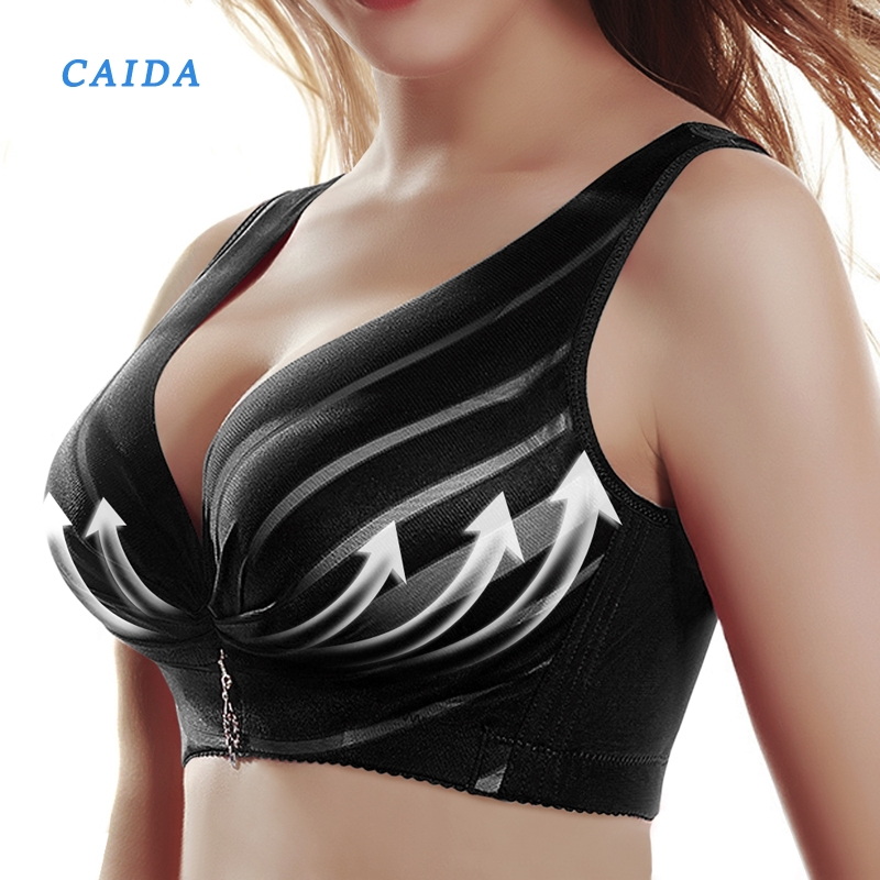 CAIDA Hot Full Cup Thin Underwear Push Up Bra Wireless Adjustable Lace Women's Bra Breast Cover B C D Cup Large Size Lace Bras image