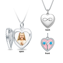 StrollGirl Sterling Silver 925 Engraved Constellation Necklaces & Pendants Personalized Photo Heart Locket Necklaces for Gifts personalized necklaces 925 sterling silver engraved necklaces diy personalized jewelry family children mother pendants necklace