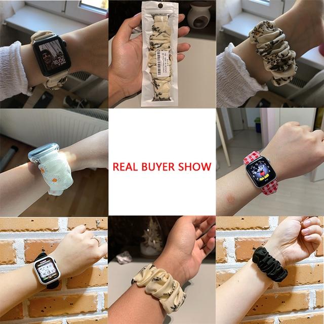 Scrunchie Elastic Watch Straps Watchband for Apple Watch Band Series 6 5 4 3 38mm 40mm 42mm 44mm for iwatch Strap Bracelet 6 5 4 3