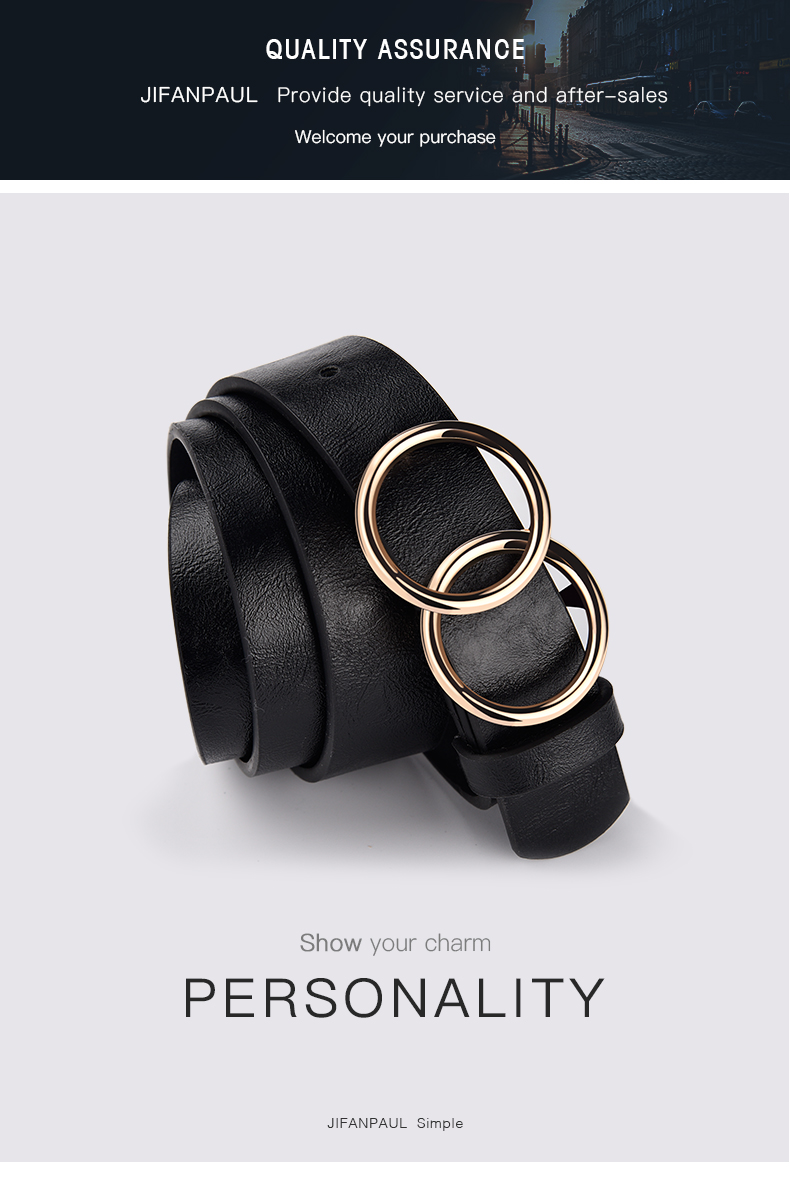 H07e8af55968b4e20bfed43a5e92a33698 - JIFANPAUL Genuine leather Women's alloy double ring buckle fashion adjustable belt retro punk ladies dress jeans student belts