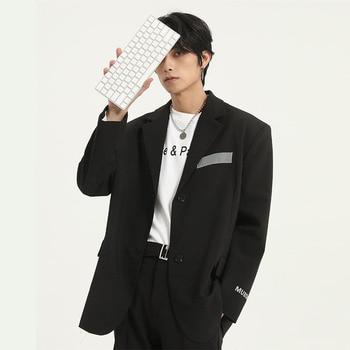 Male Retro Fashion Streetstyle Hip Hop Blazer Jacket Overcoat Men Reflective Design Casual Loose Suit Coat