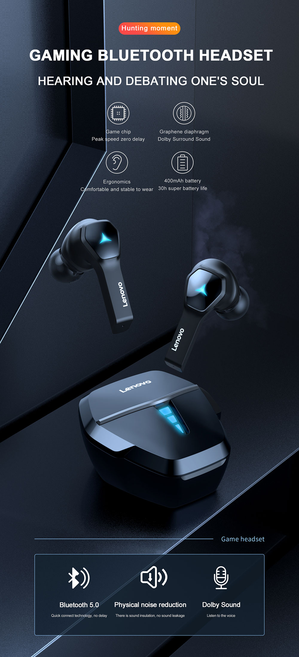 Lenovo HQ08 Gaming Wireless Bluetooth Earbuds 5