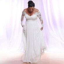 Jiayigong לבן/שנהב ארוך שרוולי שיפון שמלות כלה בתוספת גודל עמוק V צוואר Applique חוף חתונת כותנות Vestido דה Novia