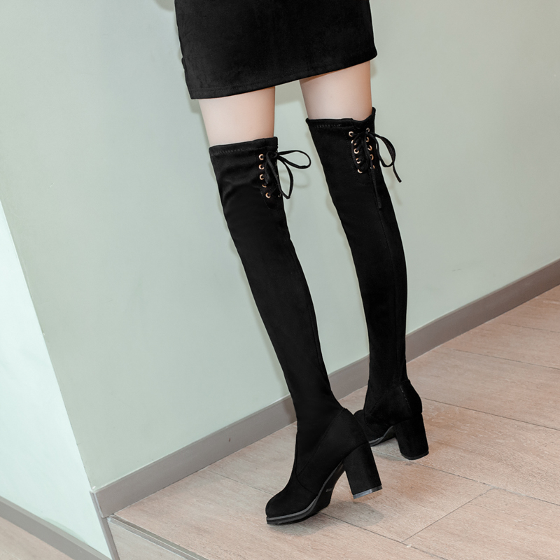 Women Winter Boots 2019 New Fashion Over Knee Boots Women Black Boots High Heels Boots Thigh High Boots Short Plush Women Shoes in Over the Knee Boots from Shoes