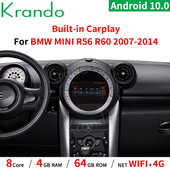Krando 7 Android 10.0 4G 64G Car radio Audio GPS for BMW Mini Cooper R60 2011-2014 Black CD Carplay WIFI Bluetooth Multimedia image