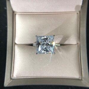 Image 2 - Jewepisode אמיתי כסף 925 תכשיטי 12MM מעבדה Moissanite יהלומי חתונת אירוסין לנשים המפלגה האהבה טבעת מתנות