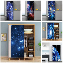 60x150cm/Custom Size Bright Starry Sky Planet Door Sticker Refrigerator Wardrobe Decoration Poster Self Adhesive PVC Wall Decals