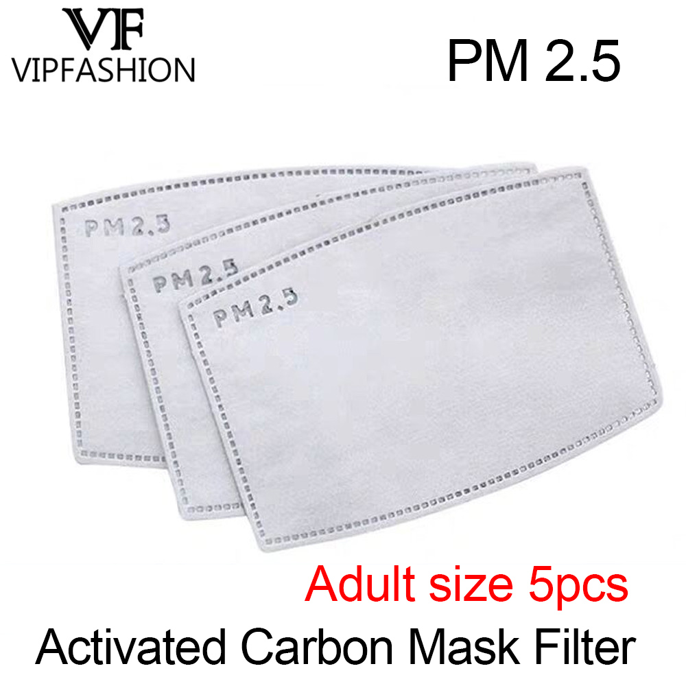 VIP FASHAION 5pcs/Lot Disposable PM2.5 Adult Filter Mouth Mask Anti Haze Bacteria Proof Flu Mask Filter Paper Health Care