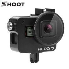 تبادل لاطلاق النار نك سبائك الألومنيوم واقية جبل ل GoPro بطل 7 6 5 قفص أسود مع UV تصفية ل الذهاب برو بطل 7 6 5 اكسسوارات