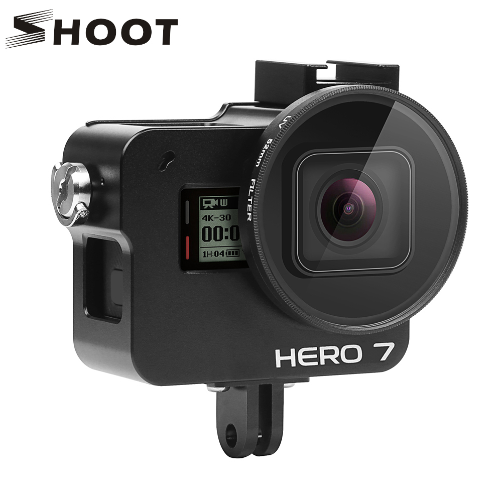 SHOOT CNC Aluminum Alloy Protective Case Mount For GoPro Hero 7 6 5 Black Cage With UV Filter For Go Pro Hero 7 6 5 Accessories
