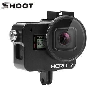 Image 1 - Tournage CNC boîtier de protection en alliage daluminium pour GoPro Hero 7 6 5 Cage noire avec filtre UV pour Go Pro Hero 7 6 5 accessoires