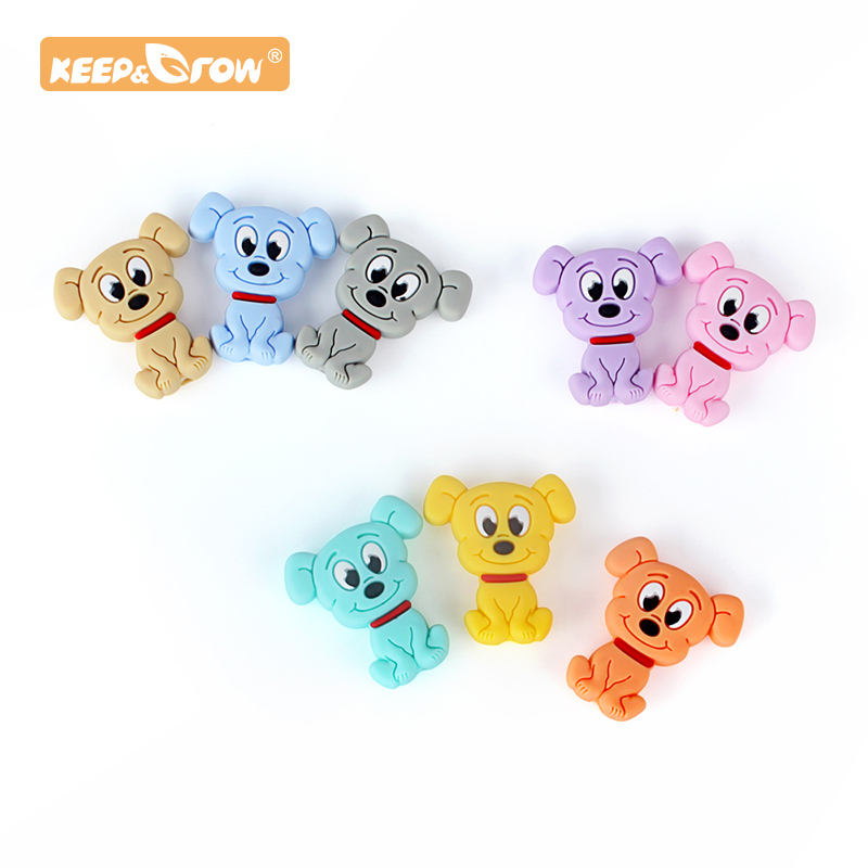 Keep&Grow 10 Pcs Cartoon Dog Silicone Beads Puppy Teether Mini Diy Teething Toy Necklace Pendant Bite Chew Pacifier Chain