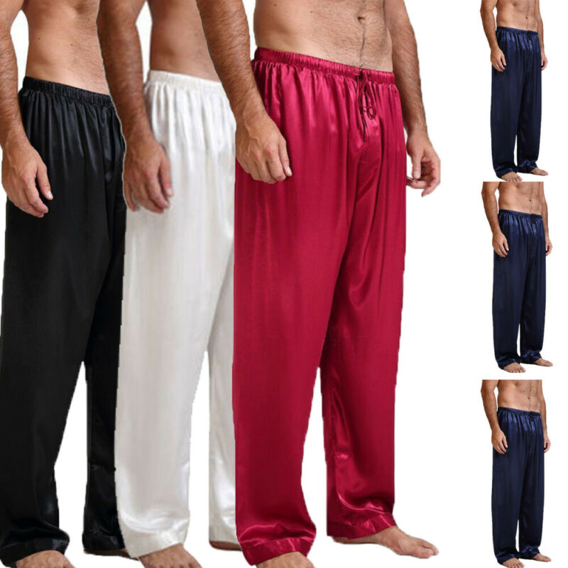 New Men's Silk Satin Pajamas Bottoms Solid Loose Pyjamas Sexy Underwear Sleep Bottoms Lounge Pants Nightwear Sleepwear Trousers