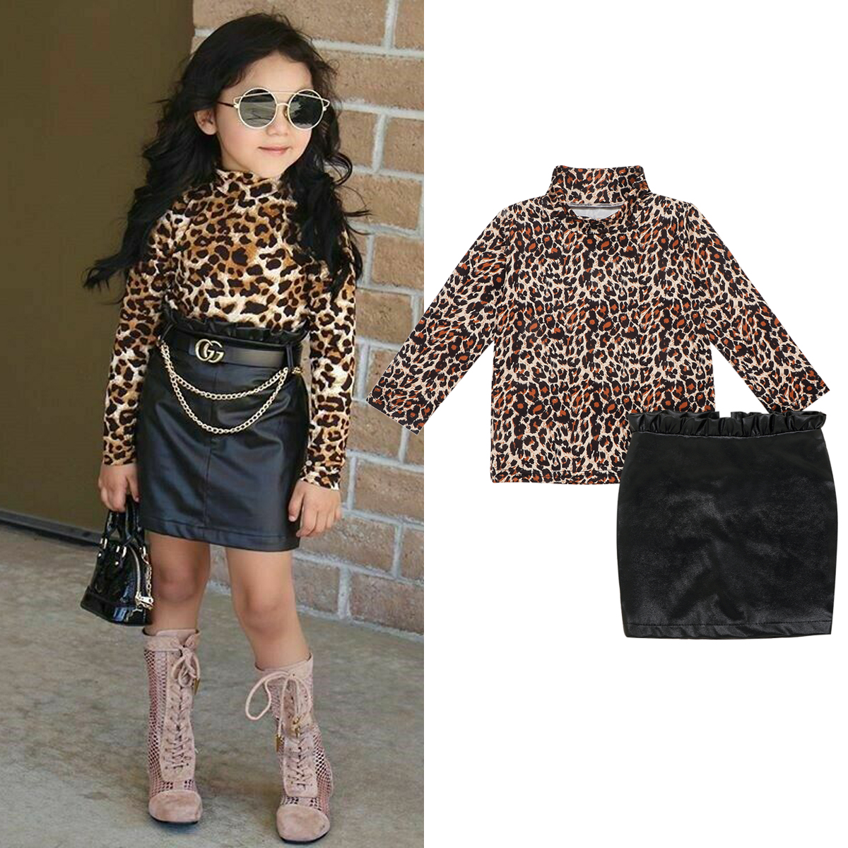 Fashion Toddler Baby Girl Clothing Set Leopard Tops T-Shirt Ruffle Leather Zipper Hip Skirt Dress Baby Girl Clothes Outfits Set