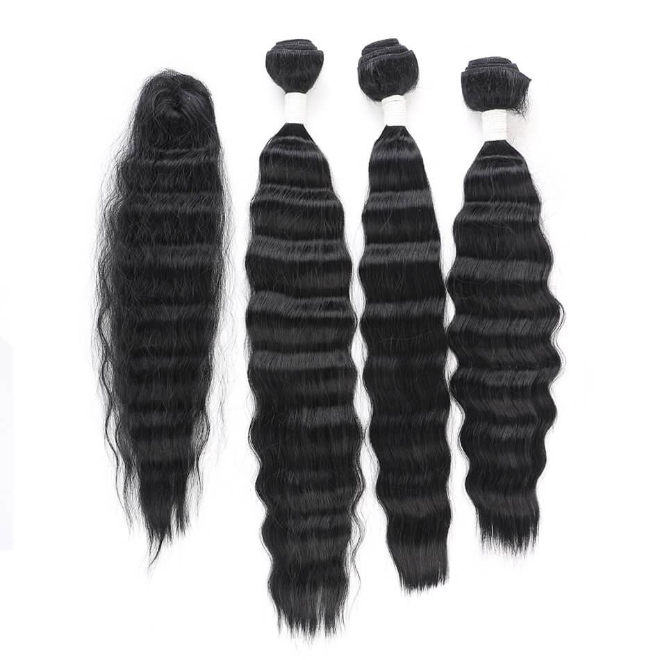 Paquet synthétique cheveux corps vagues faisceaux Curles Extension de cheveux pour les femmes belles 16