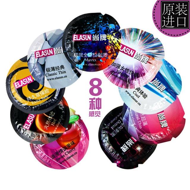 ELASUN 72 pièces 8 Types de préservatifs préservatifs Ultra minces en Latex naturel à Double lubrification. Contraception plus sûre pour adultes