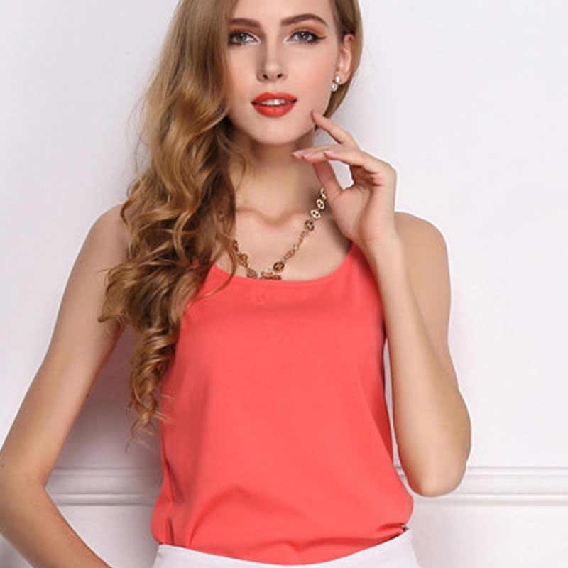 Nueva de moda Casual tanque camiseta de verano chaleco gasa sin mangas mujer Casual de algodón de cuello redondo de moda sólido sin mangas