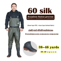 Professional fly fishing pants boots PVC Waterproof Shoes Plus size Wading Non slip rubber waders Men Fishermen work miners wear
