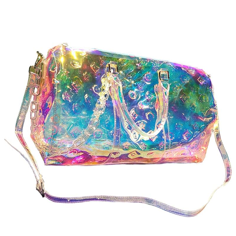 Rainbow Laser Gril Sport Bag Shine Women's Travel Handbag PVC Holographic Luggage Transparent 2019 Lady Tote Hologram Suitcases