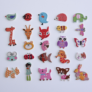 50Pcs Mixed Animals 2Hole Wooden Buttons for Scrapbooking Crafts DIY Baby Children Clothing Sewing Accessories Button Decoration