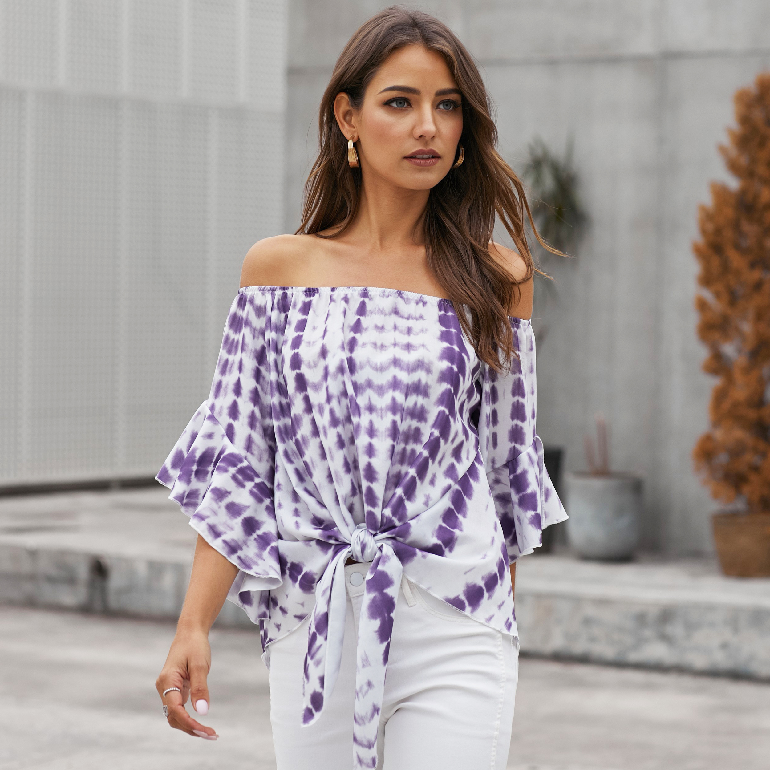 2020 New Arrive Womens Summer Casual Purple Chiffon Colorblock Tube Top Slap-Up Off-Shoulder Knotted Tops Girls Slash Neck Shirt
