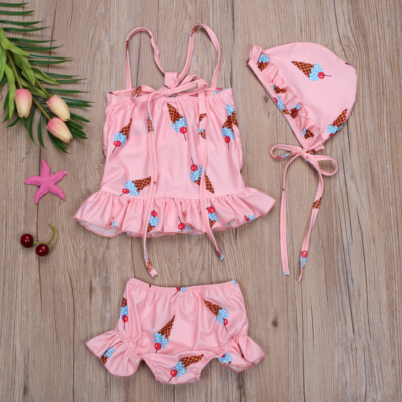 Summer Girls Cartoon Ice Cream Printed Dungaree Shirt Shorts Hat Three-piece Set Children's Swimsuit Set