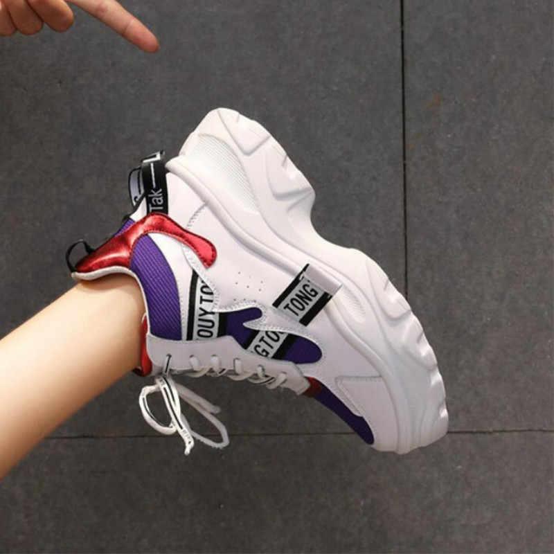 Mùa Xuân Năm 2020 Mới Da Nữ Platform Chunky Giày Thời Trang Nữ Phẳng Dày Đế Giày Người Phụ Nữ Bố Giày