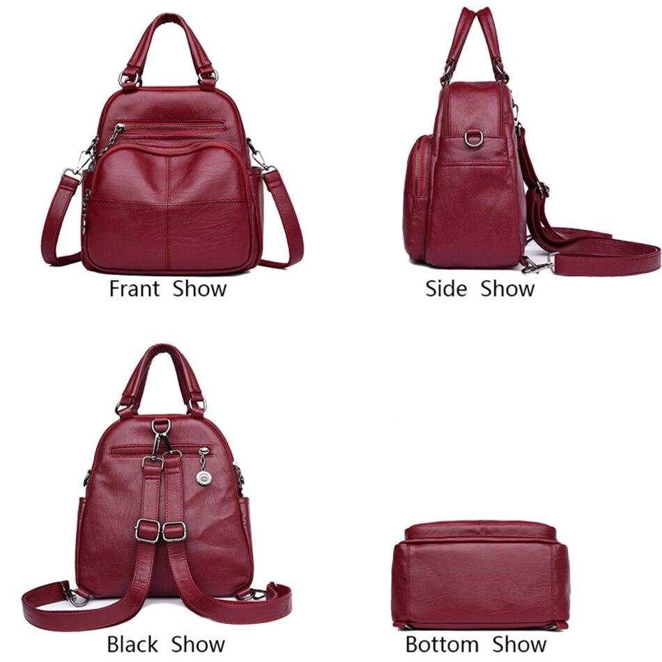 Image 3 - Multifunction Women Backpacks Female Shoulder Bag School Bags For Teenage Girls Designer Leather Women Travel Backpack MochilaBackpacks   -