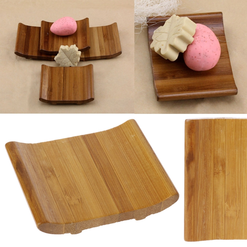 Natural Bamboo Soap Holder Dish Bathroom Shower Plate Stand Storage Box Rack K1MF