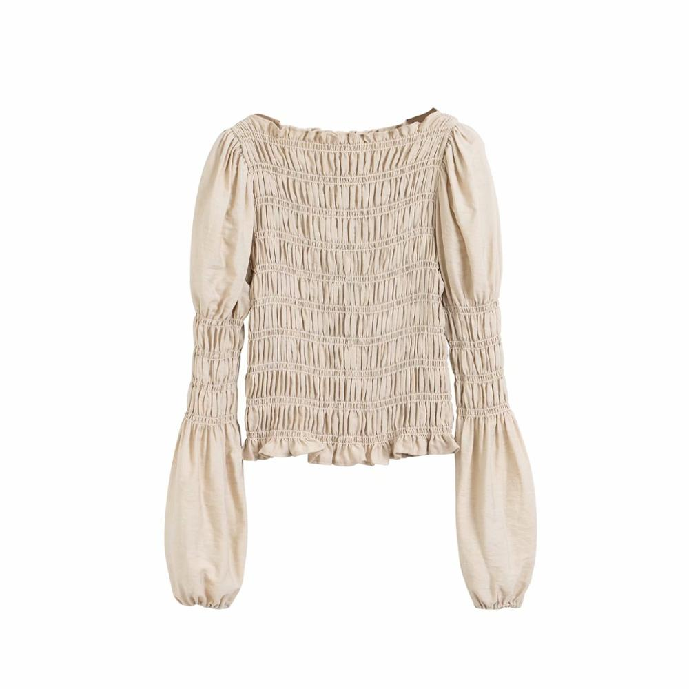 New Women Solid Elastic Slim Smock Shirts Blouses Women Puff Sleeve Pullover Roupas Agaric Lace Femininas Chemise Tops LS6468