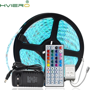 цена на 5M RGB Waterproof LED Strip 5050 SMD Flexible Led Night Lamp Holiday Light Desk Lamp DC 12V 44Key IR Remote Controller Receiver
