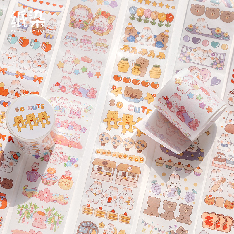 Washi Masking Tapes Cartoon Rabbit Series Decorative Adhesive Scrapbooking DIY Paper Japanese Stickers