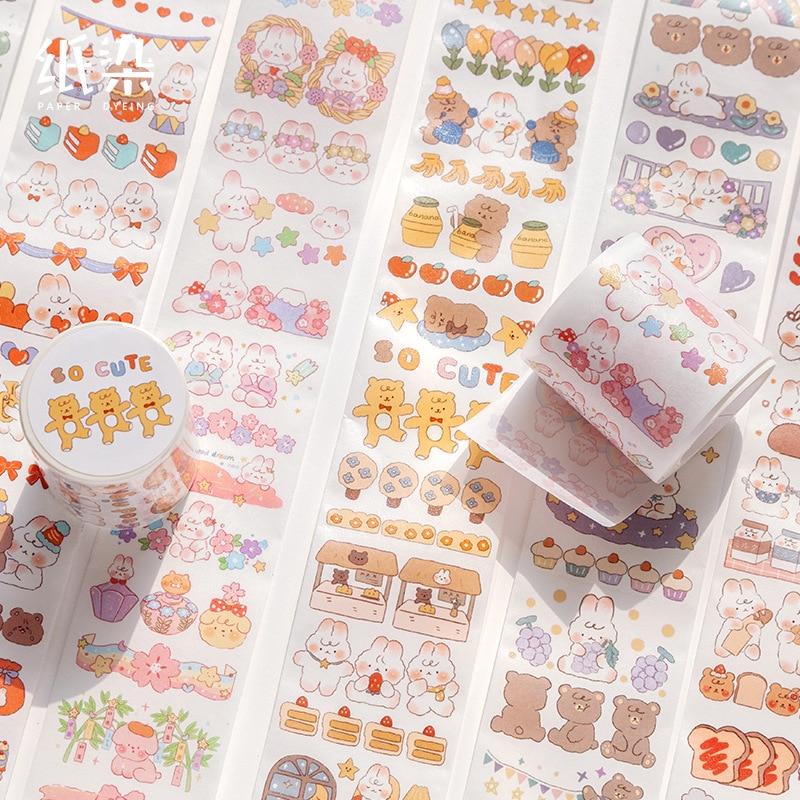 Washi Masking Tapes Cartoon Rabbit Series Decorative Adhesive Scrapbooking DIY Paper Japanese Stickers