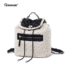 2019 new Genuine Leather bag women Lamp wool backpacks elegant soft school bag  white travel tote bags high quality Backpack New