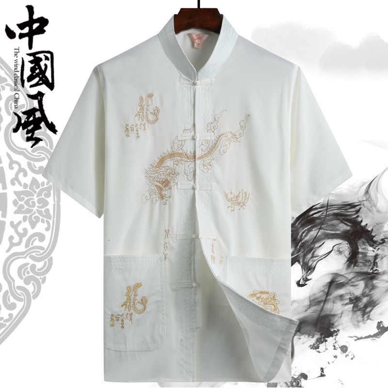 קיץ רקמת דרקון הדפסת חולצה חולצות גברים טאנג חליפה סיני מסורתי Hanfu T חולצה קונג פו מעיל אב מזרחי קרדיגן