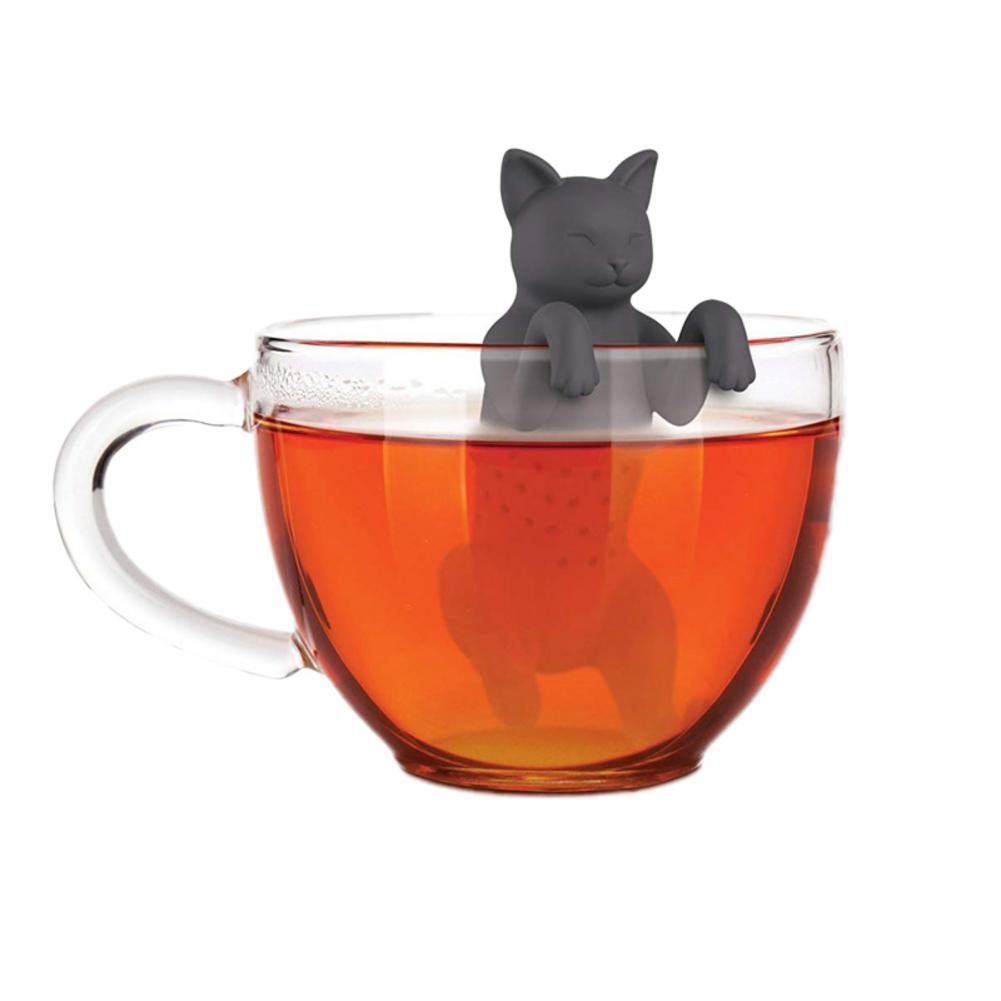 Pet Cat Tea Infuser Food Grade Silicone Rubber Tea Strainer Animal Dog Tea Filter Black Grey Silicone Tea Leak