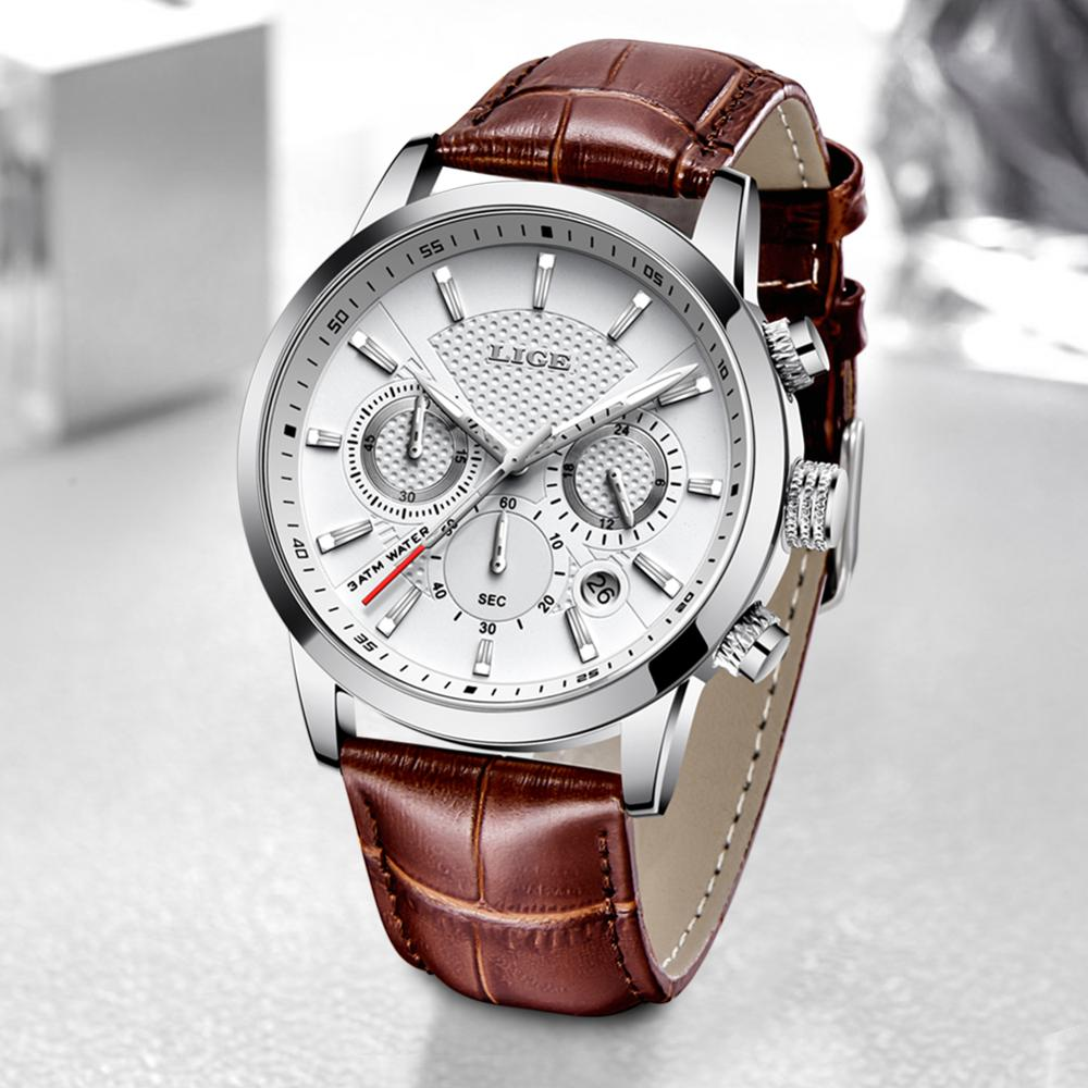 Watches Mens 2021 LIGE Top Brand Luxury Casual Leather Quartz Men's Watch Business Clock Male Sport Waterproof Date Chronograph